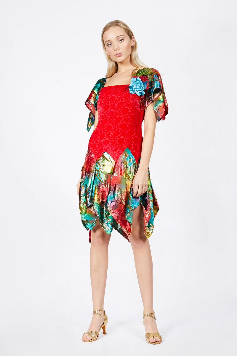 Ilona Rich Red Velvet Brocade and Multicolour Metallic Dress
