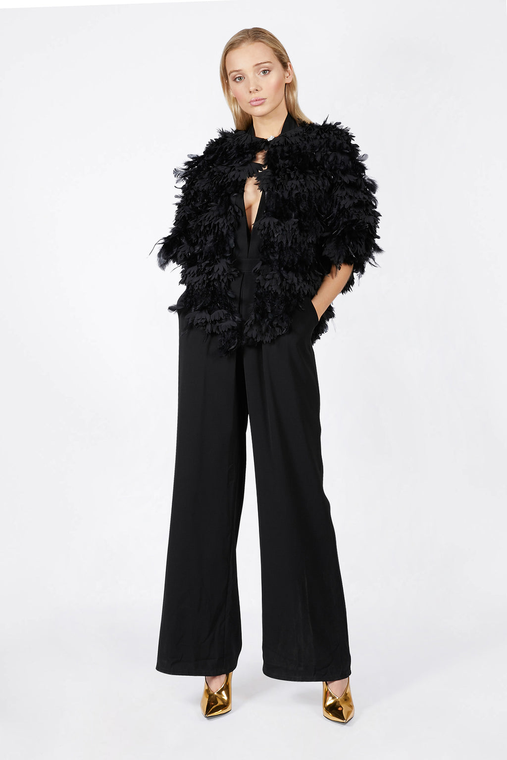 Ilona Rich Black Feather Cape