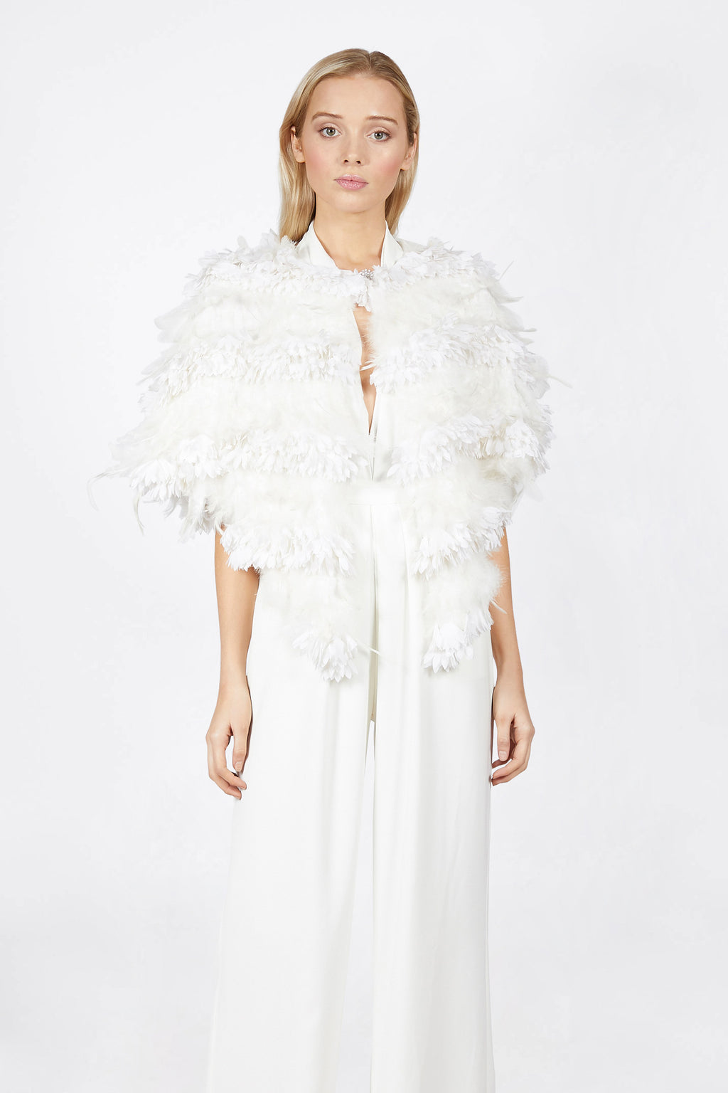 Ilona Rich White Feather Cape