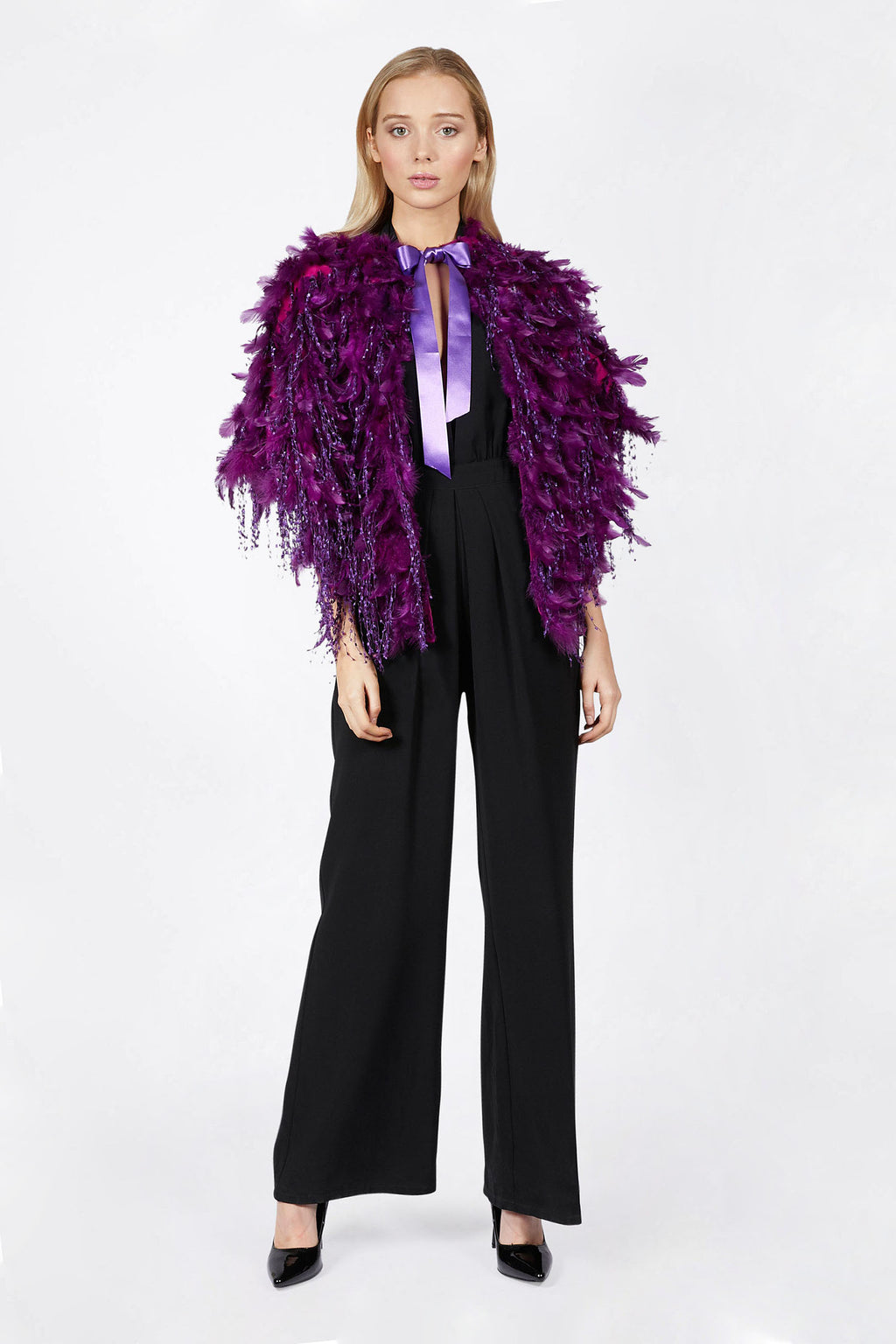 Purple Feather Shawl