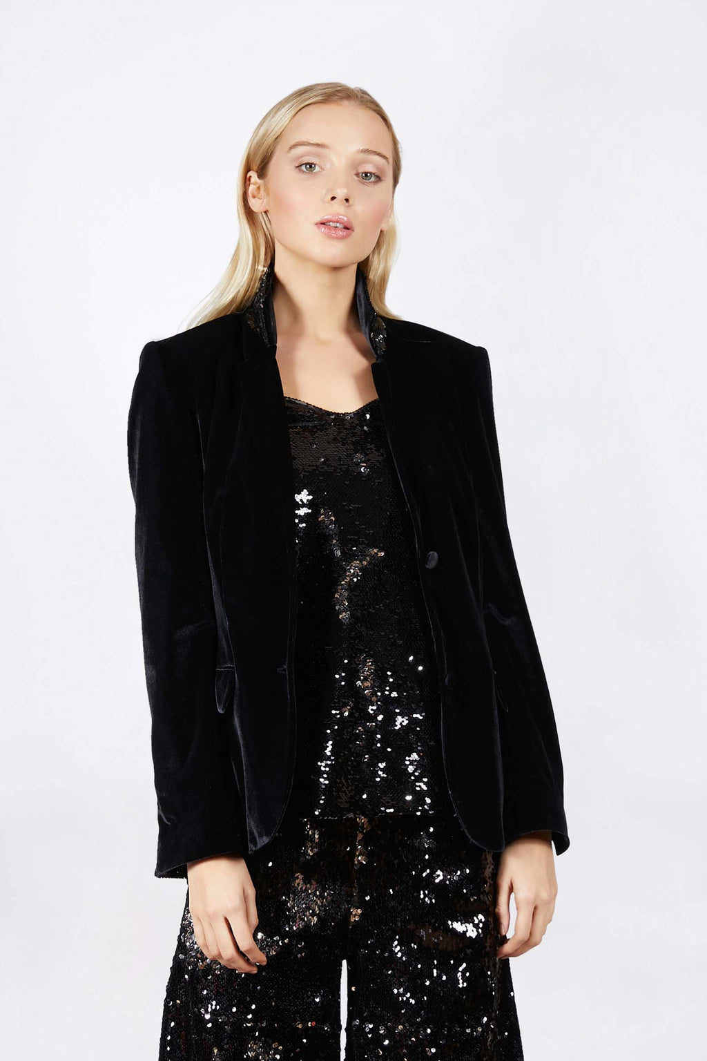Ilona Rich Black Velvet Blazer with Silver Detail