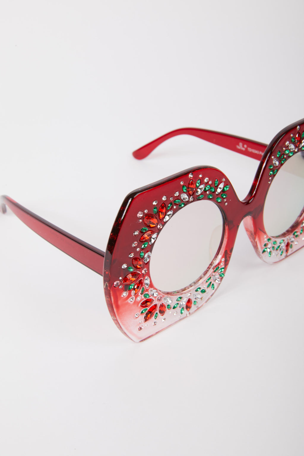 Wide Frame Embellished Sunglasses