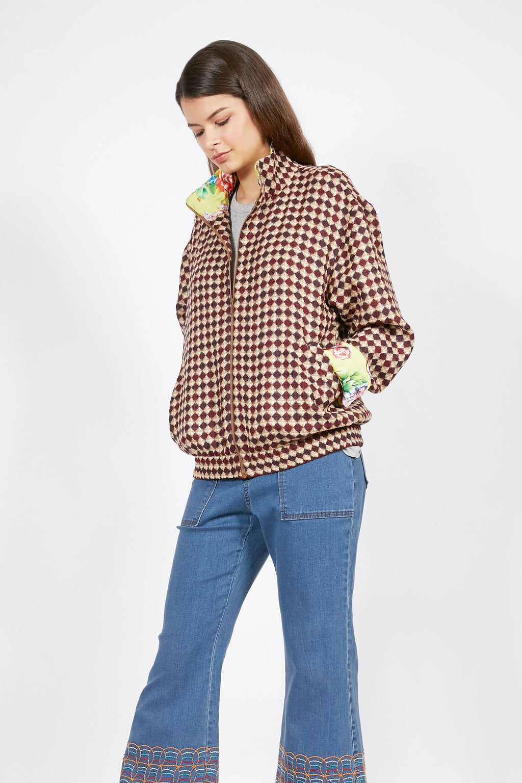 Ilona Rich Brown Check Bomber with Floral Lining