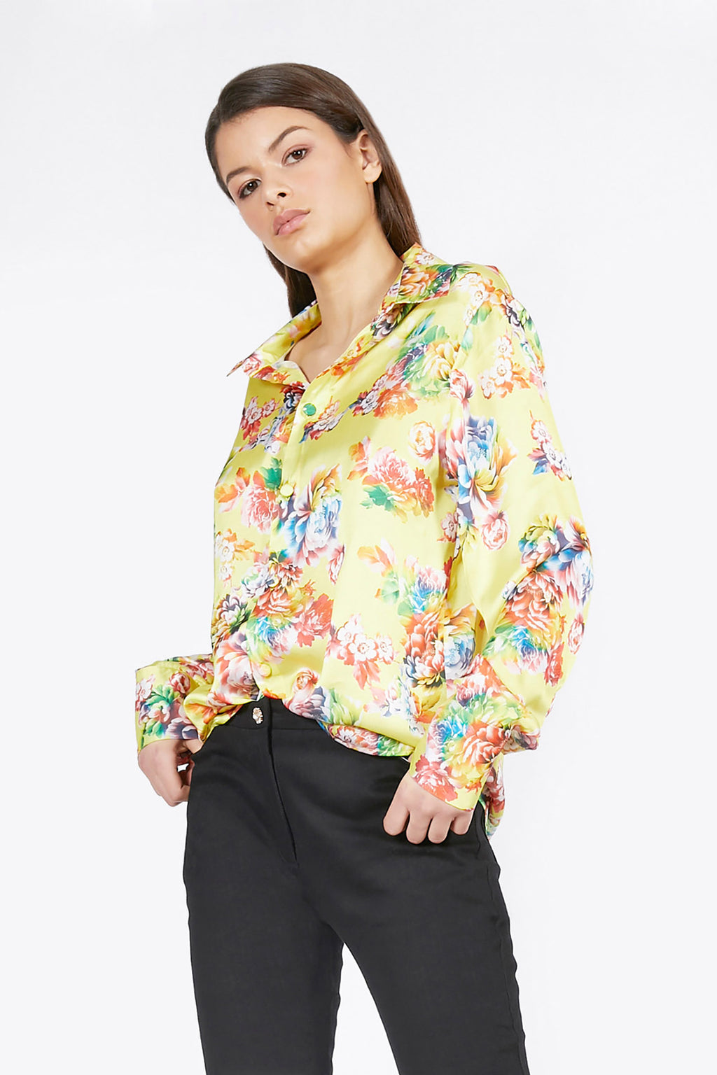 Ilona Rich Yellow Floral Satin Shirt