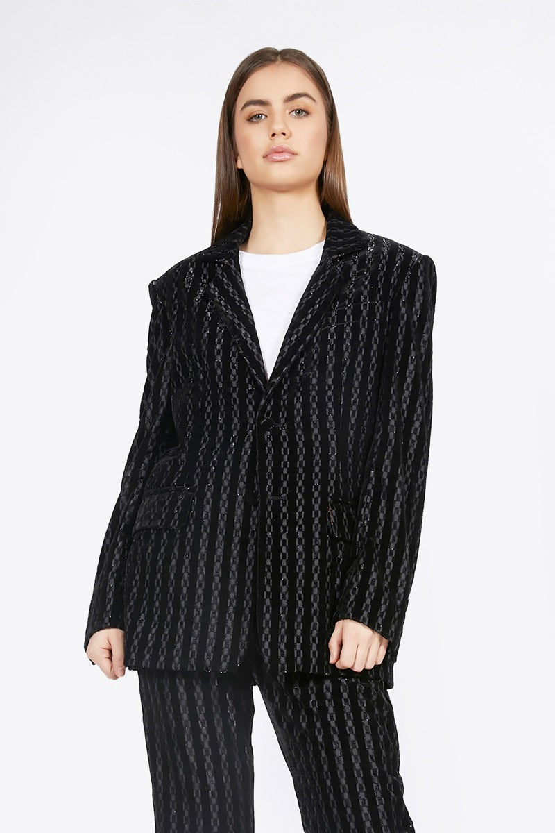 Ilona Rich Black Velvet Striped Suit Jacket