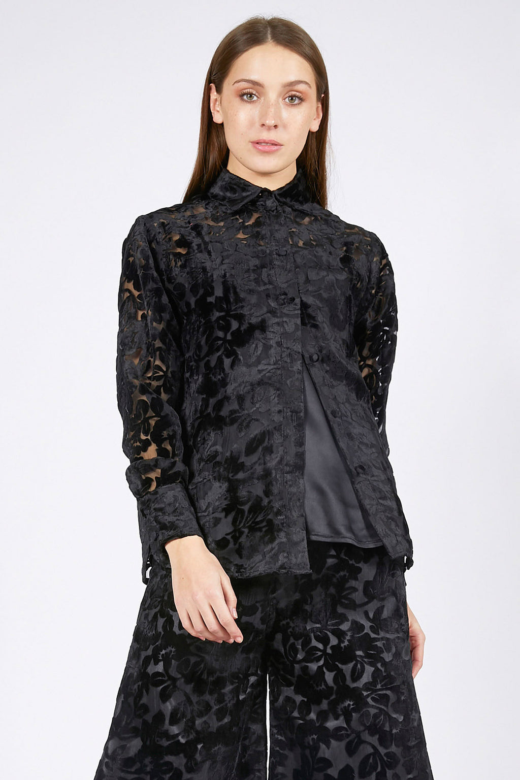 Ilona Rich Black Velvet Brocade Shirt