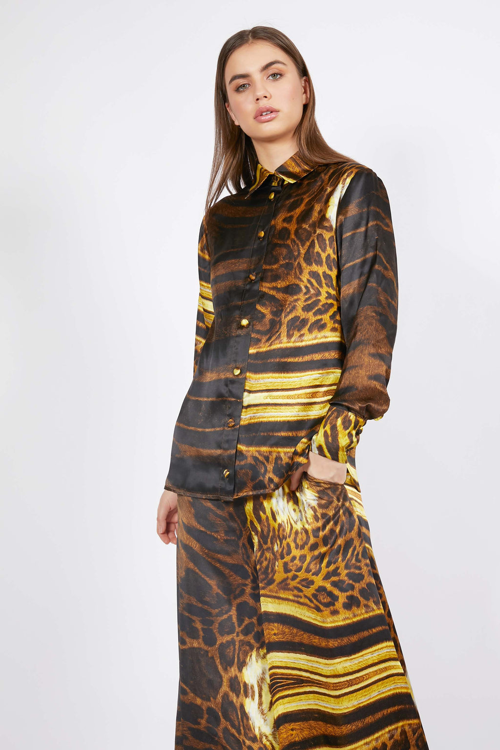 Ilona Rich Golden Animal Print Button Up Silk Shirt