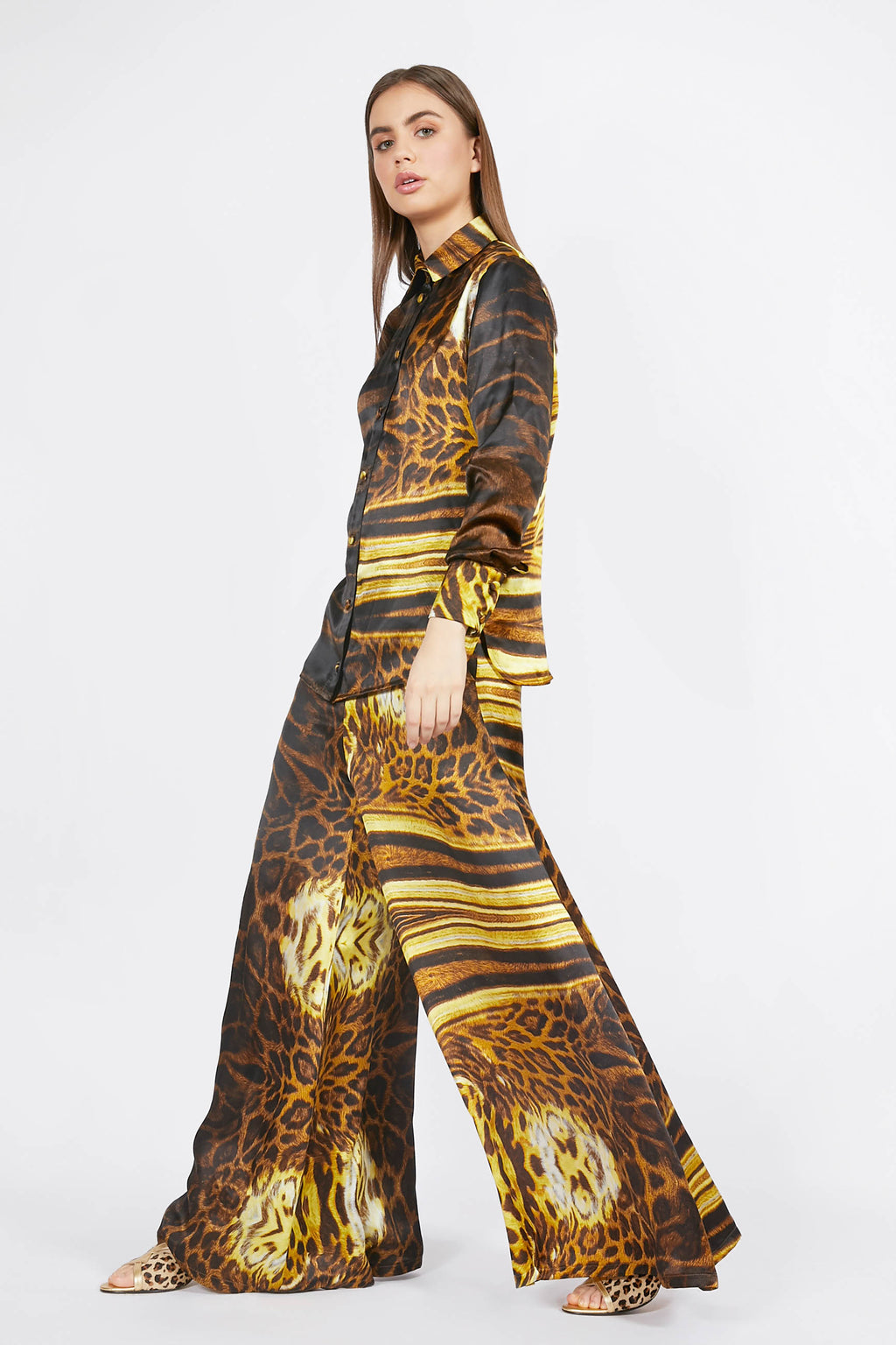 Ilona Rich Golden Animal Print Wide Leg Trousers