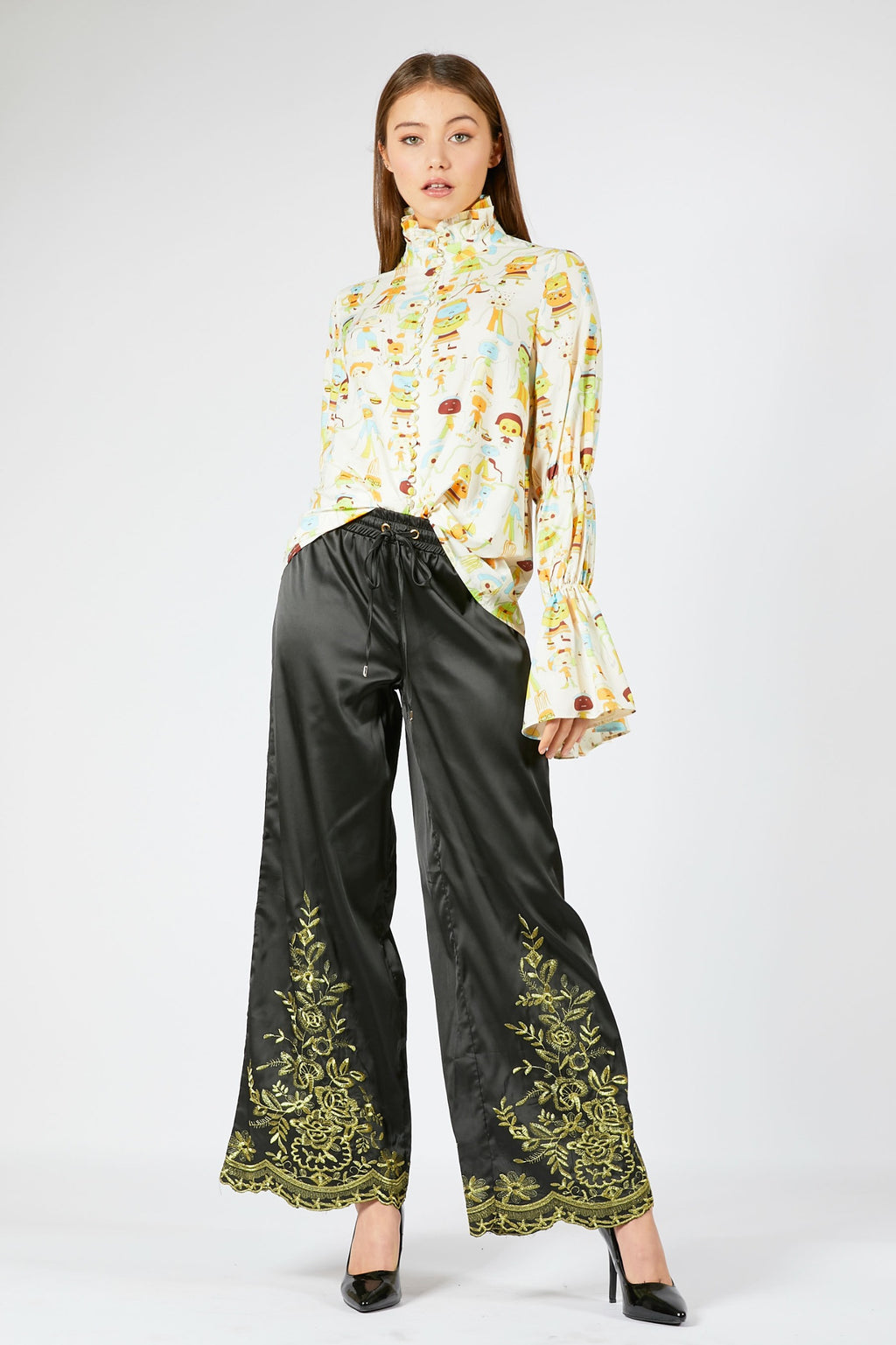 Black Trousers with Gold Embroidery