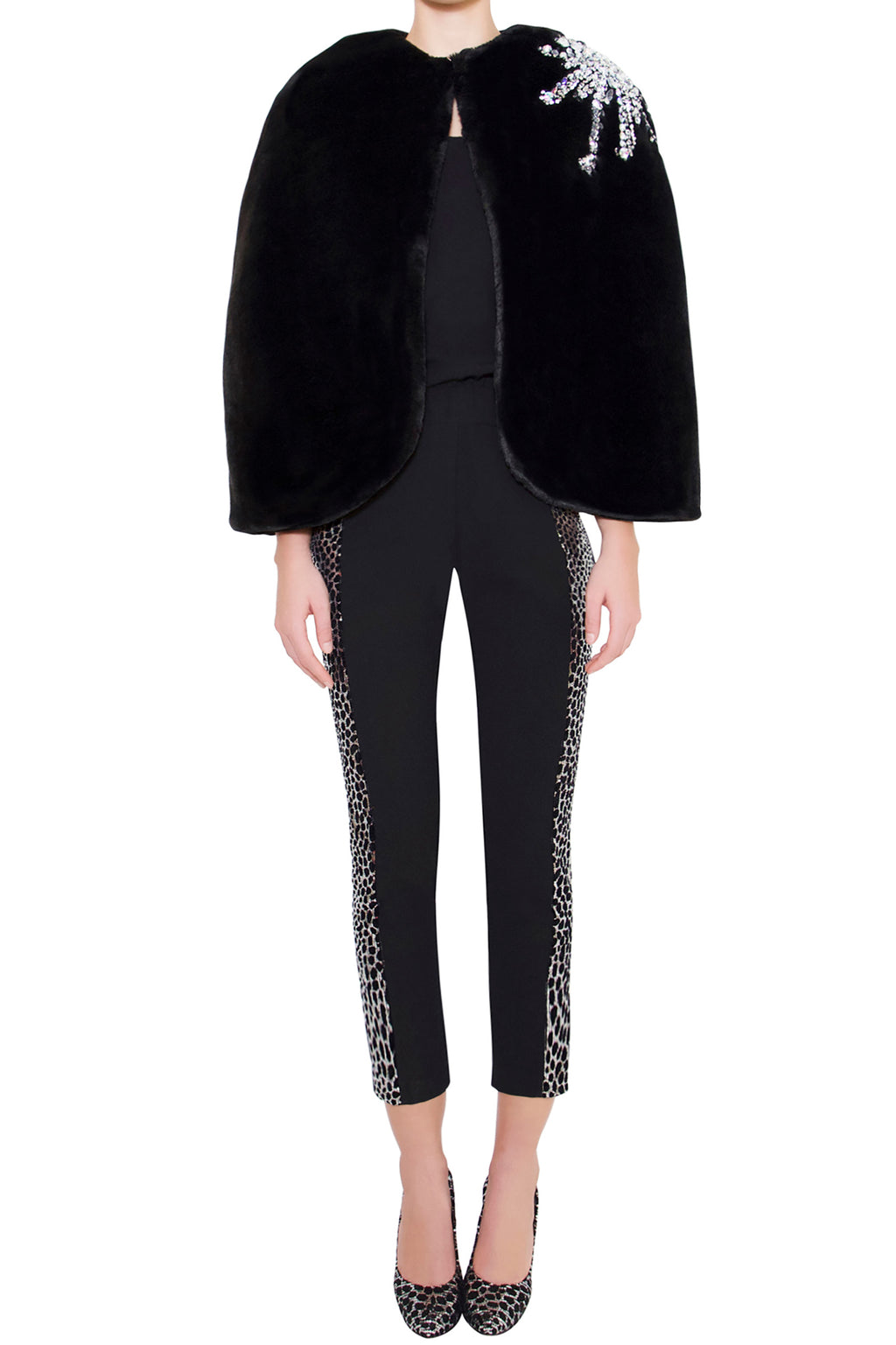 Black Embellished Rhinestone Faux-fur Cape