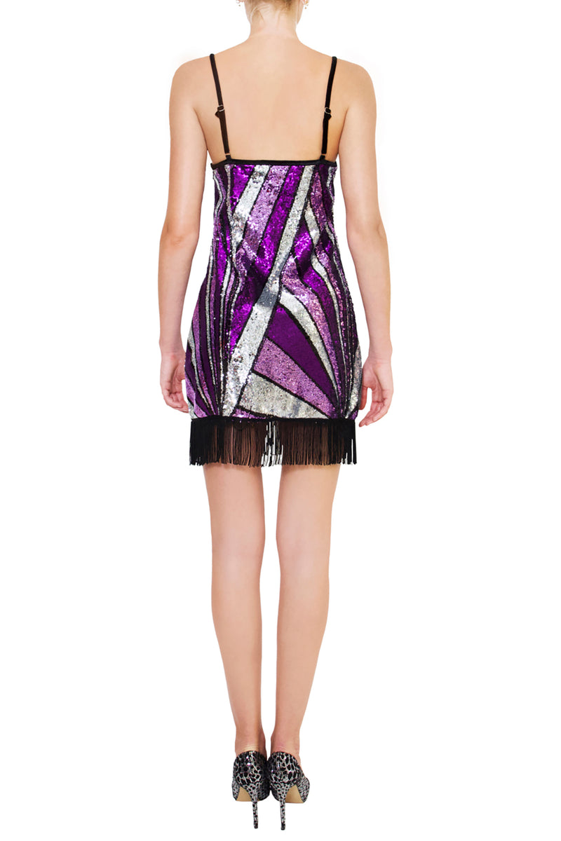Ilona Rich Purple Geometric Sequin Tassel Dress