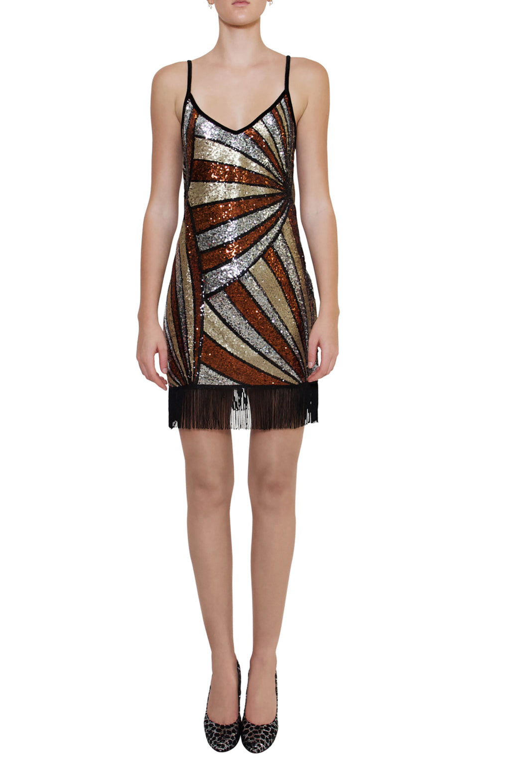 Ilona Rich Bronze Geometric Tassel Sequin Dress