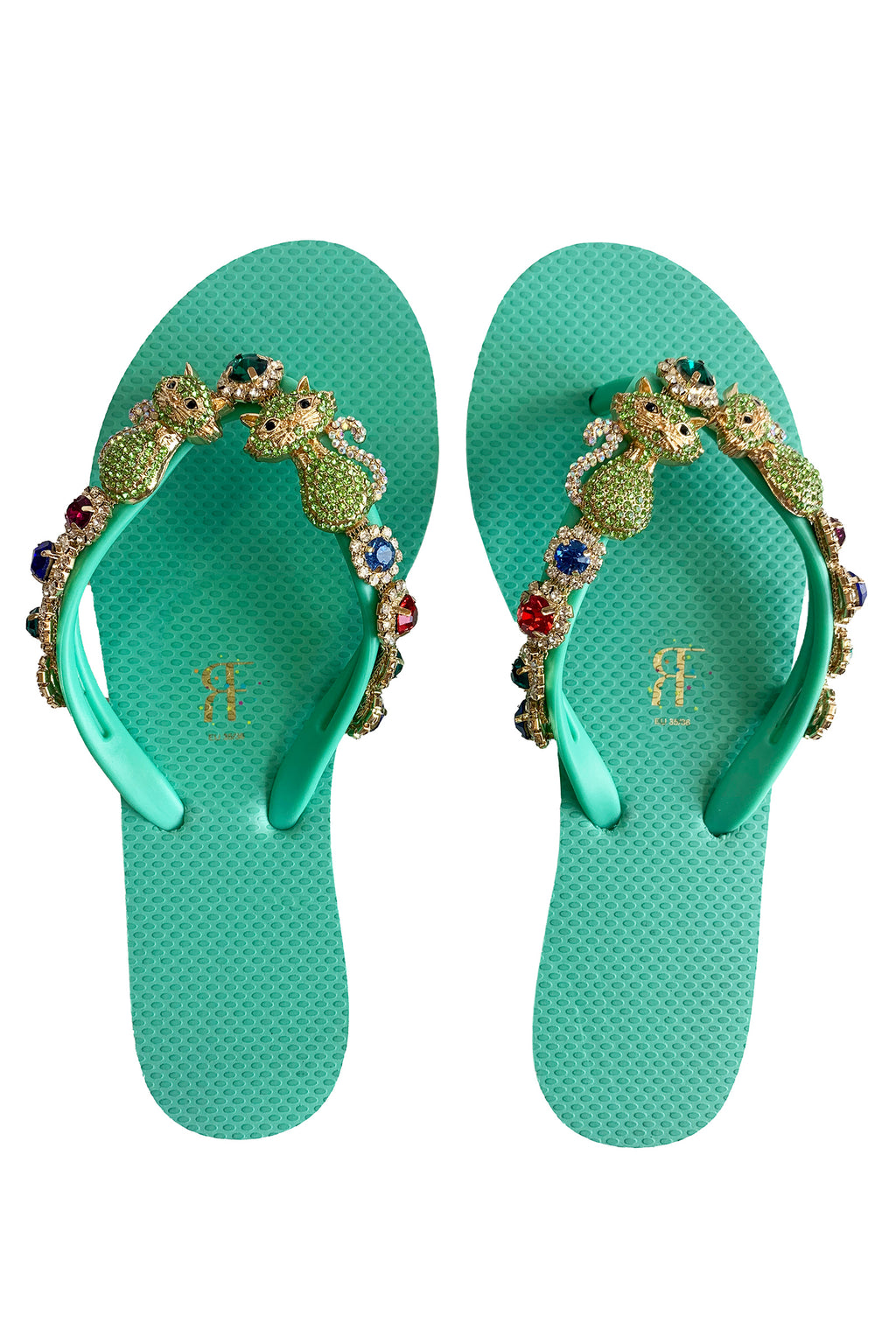 Cat Rhinestone Green Flip Flop