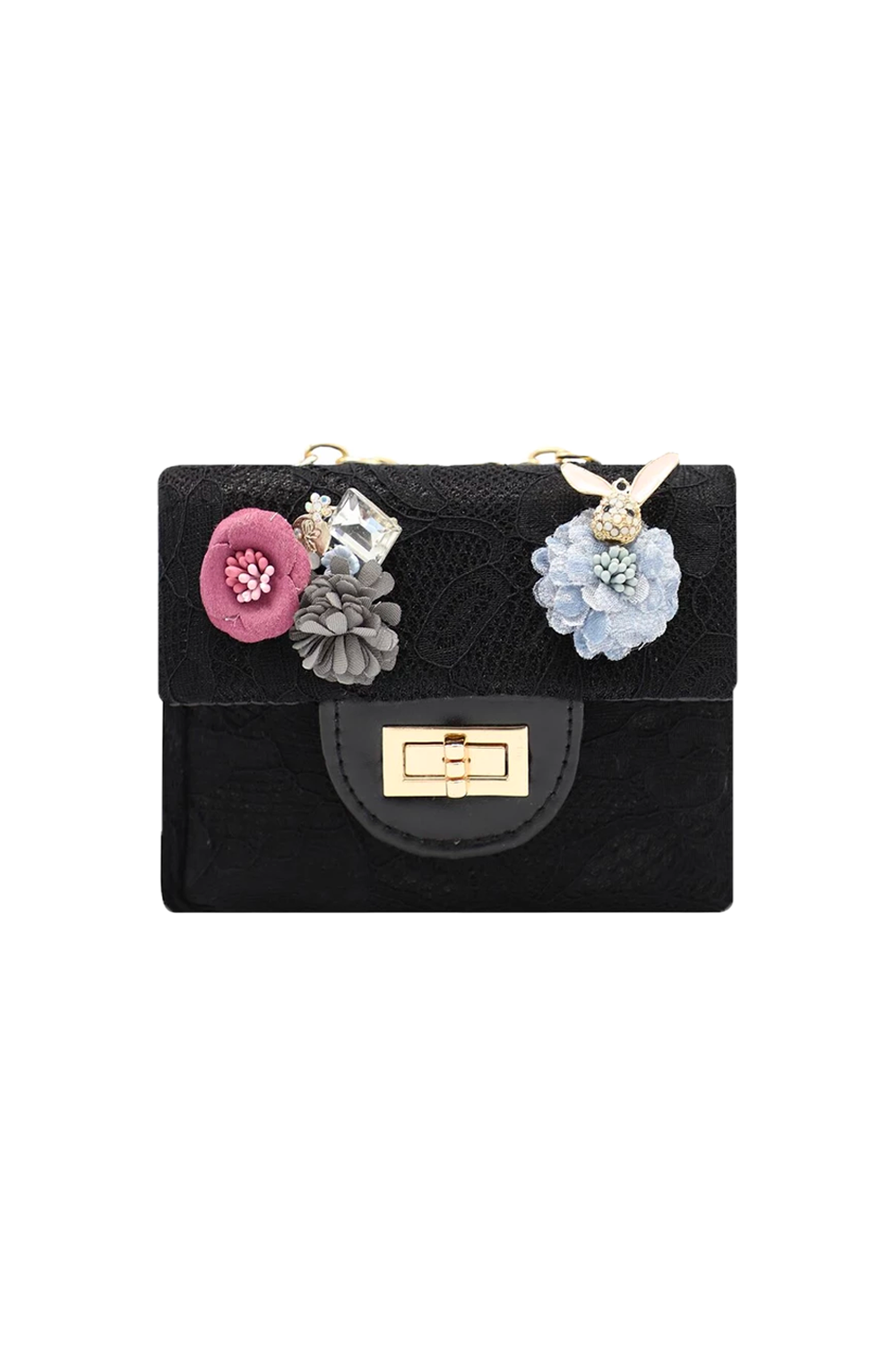 Black Lace Floral Clutch