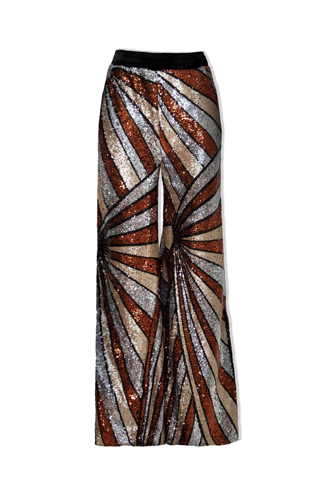 Ilona Rich Bronze Geometrical Sequin Wide Leg Trousers