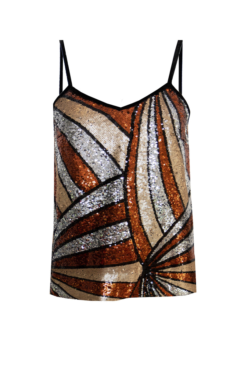 Ilona Rich Bronze Geometric Sequin Cami Top