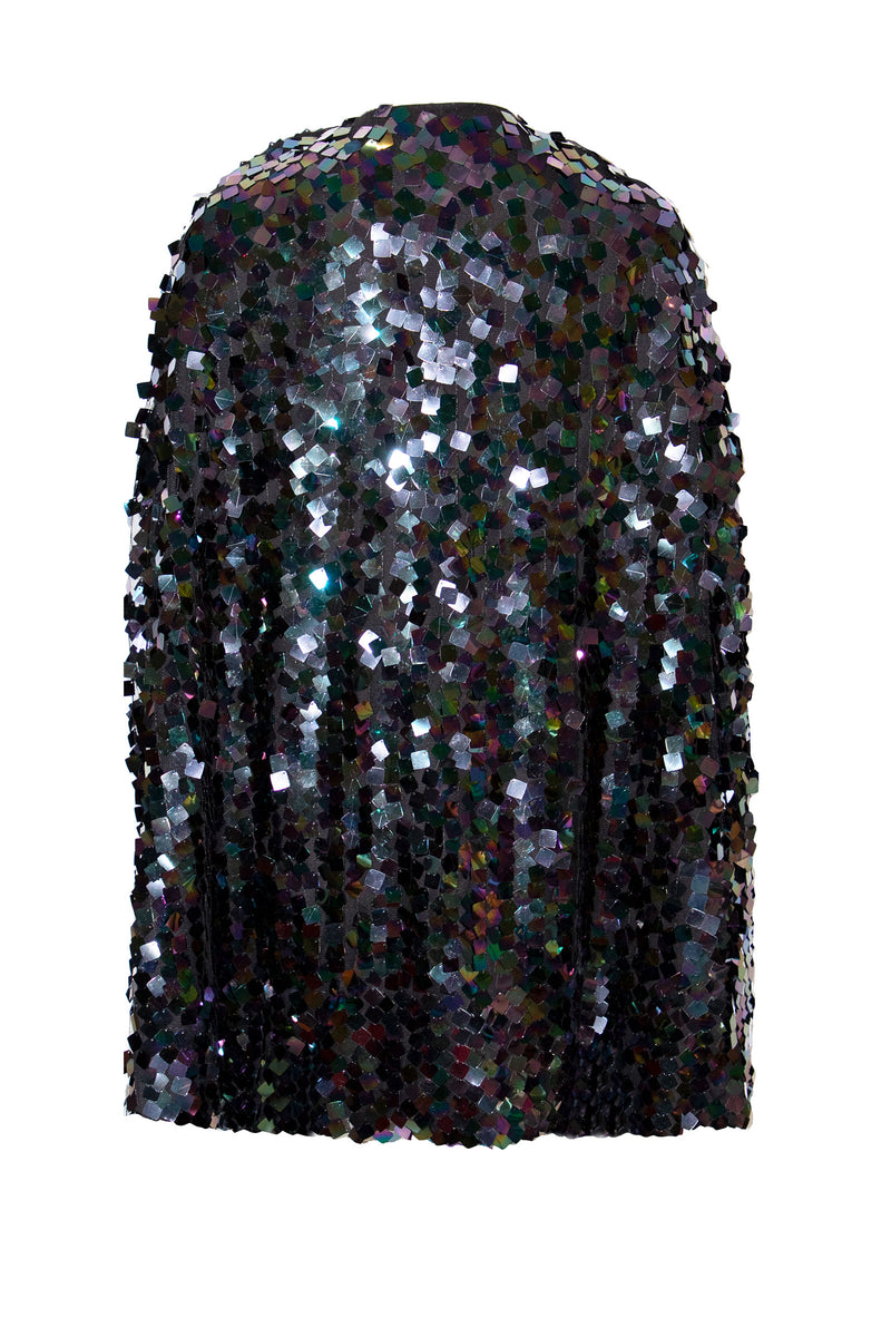 Ilona Rich Embellished Sequin Metallic Iridescent Cape