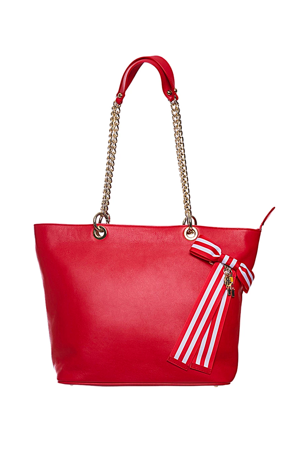 Red Leather Tote Bag with Chain Straps