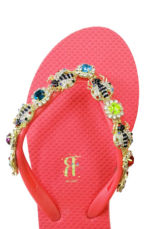 Bee Rhinestone Red Flip Flop