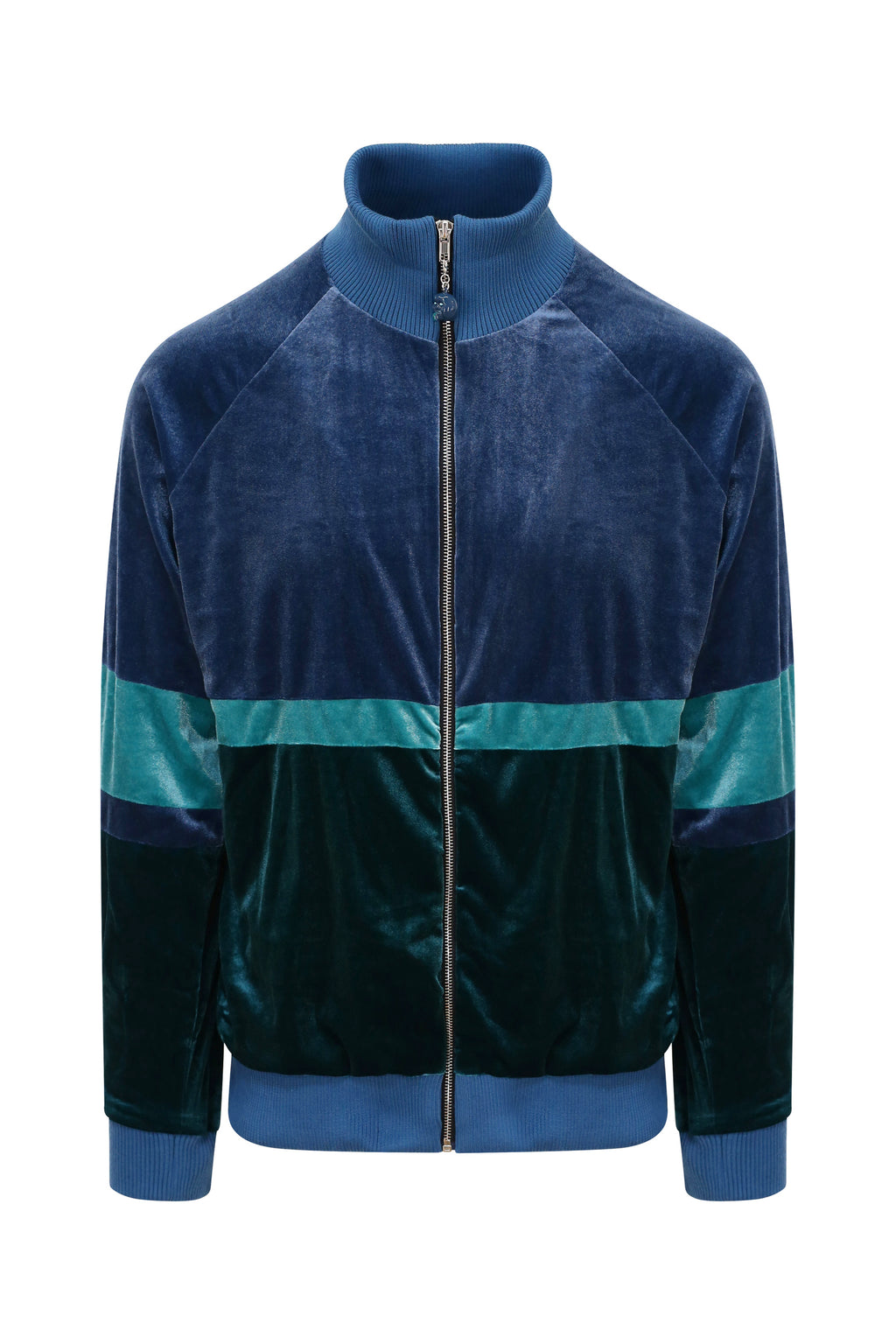 Adrian Unisex Green and Blue Velour Tracksuit Jacket