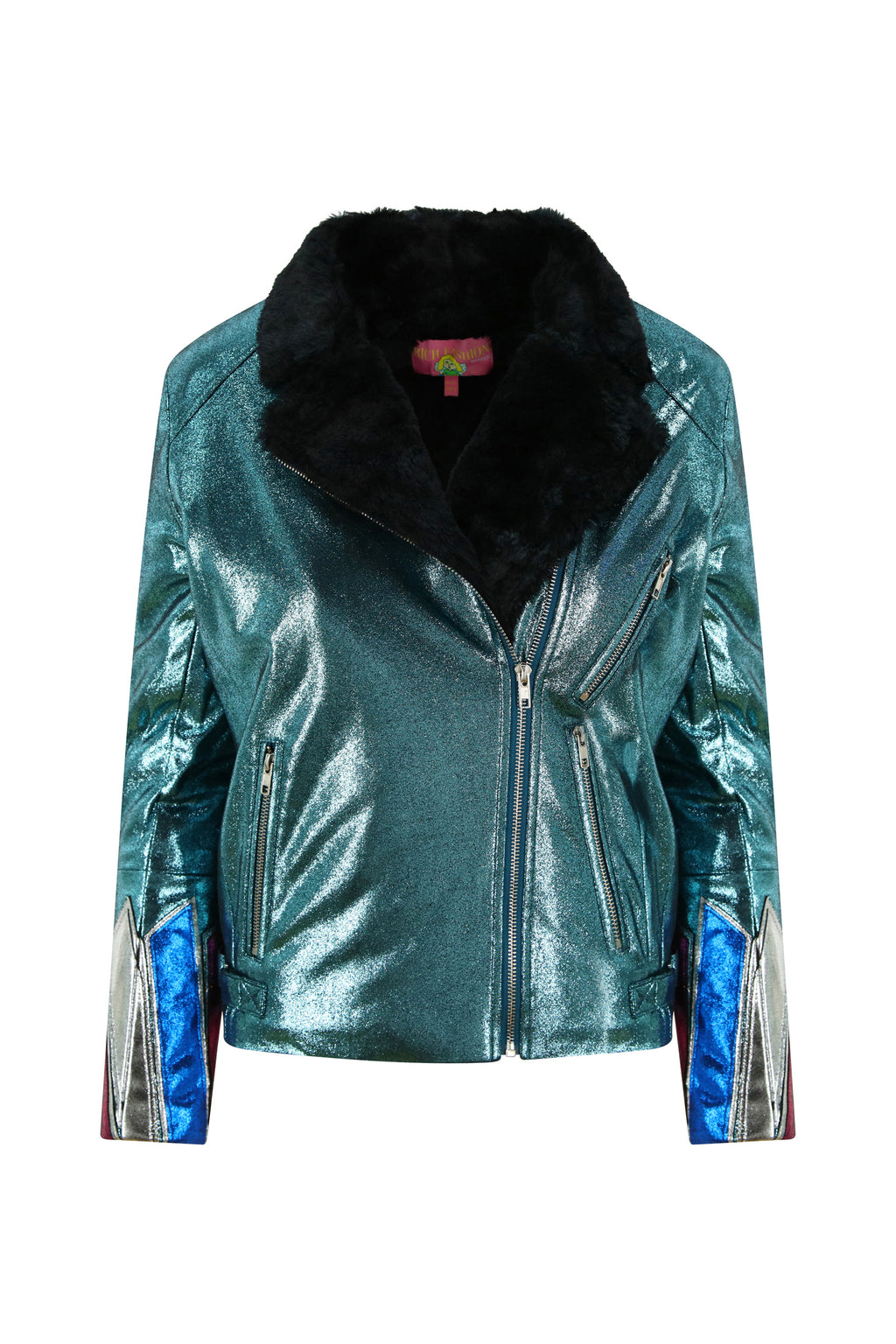 Faux Leather and Fur Metallic Teal Jacket