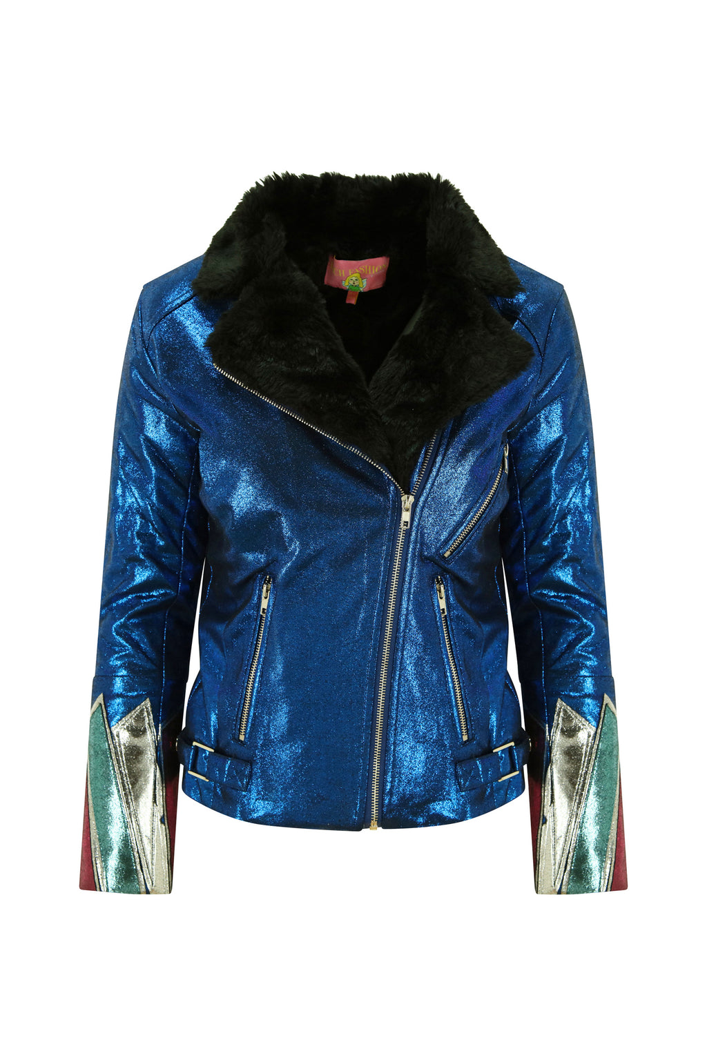 Blue Metallic Faux Leather and Fur Jacket