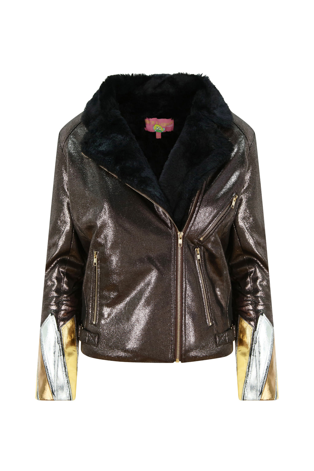 Metallic Bronze Faux Leather and Fur Jacket
