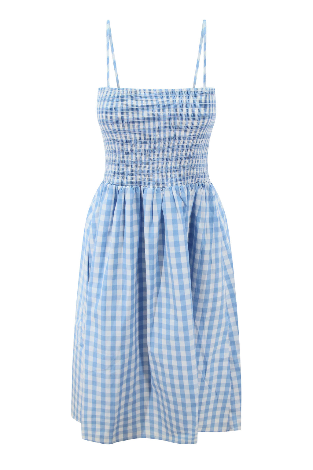 Smocked Gingham Midi Dress