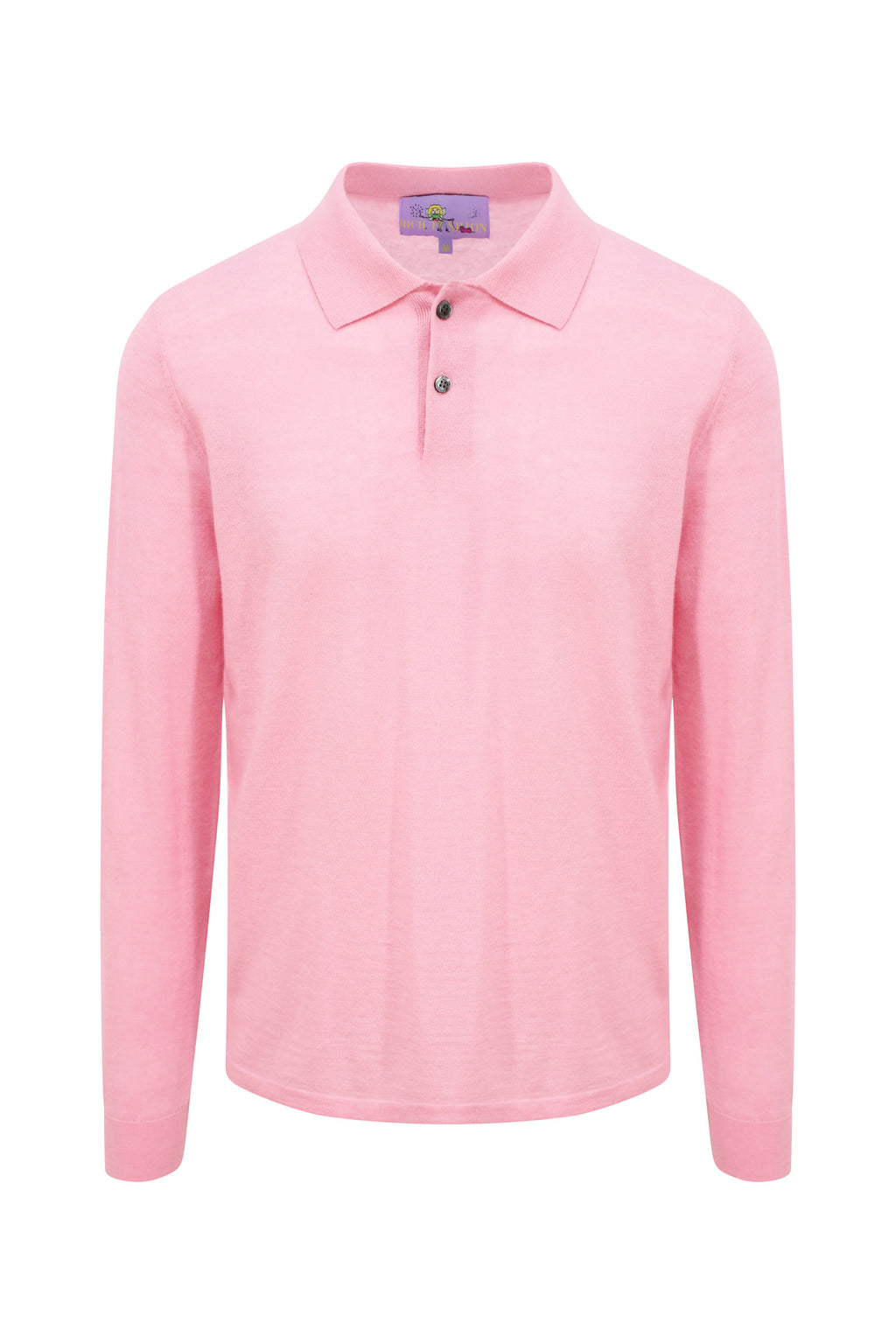 Pink Cashmere Long Sleeve Polo Shirt