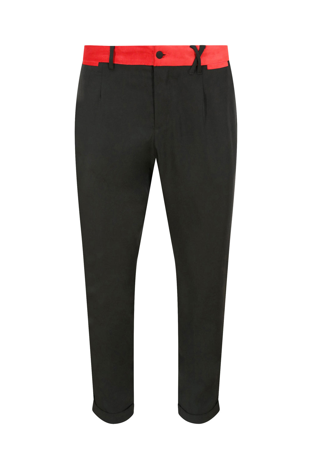 Unisex Tuxedo Trousers with Red Velvet Stripe