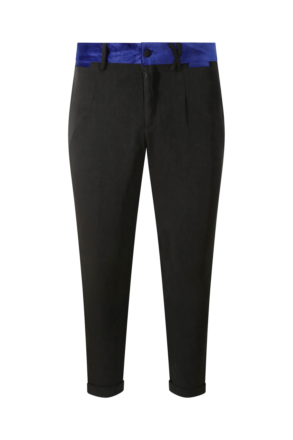 Unisex Tuxedo Trousers with Blue Velvet Stripe