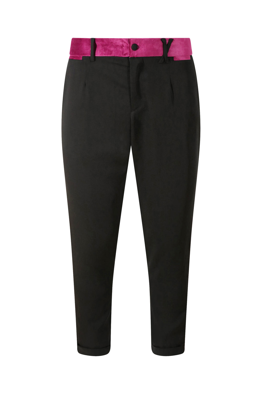 Unisex Tuxedo Trousers with Purple Velvet Stripe