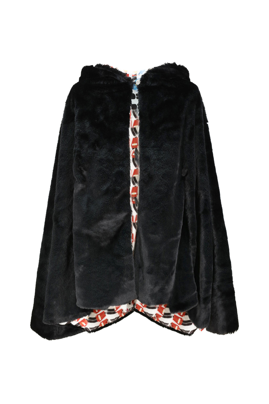 Faux Fur Hooded Cape with Guard Print Lining