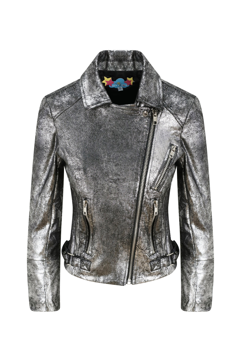Metallic Silver Biker Jacket