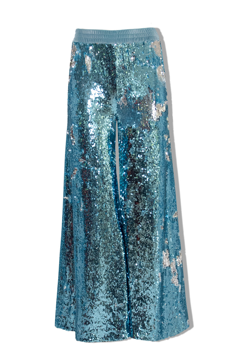 Ilona Rich Blue & Silver Sequin Wide Leg Trousers