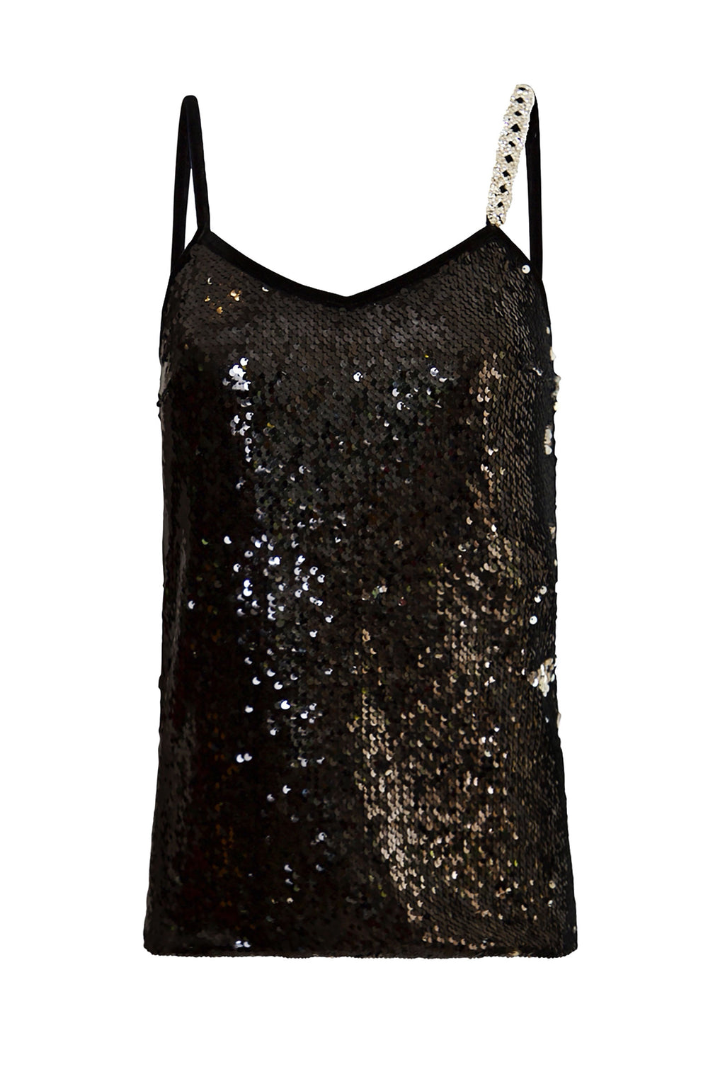 Ilona Rich Black Sequin Cami Top