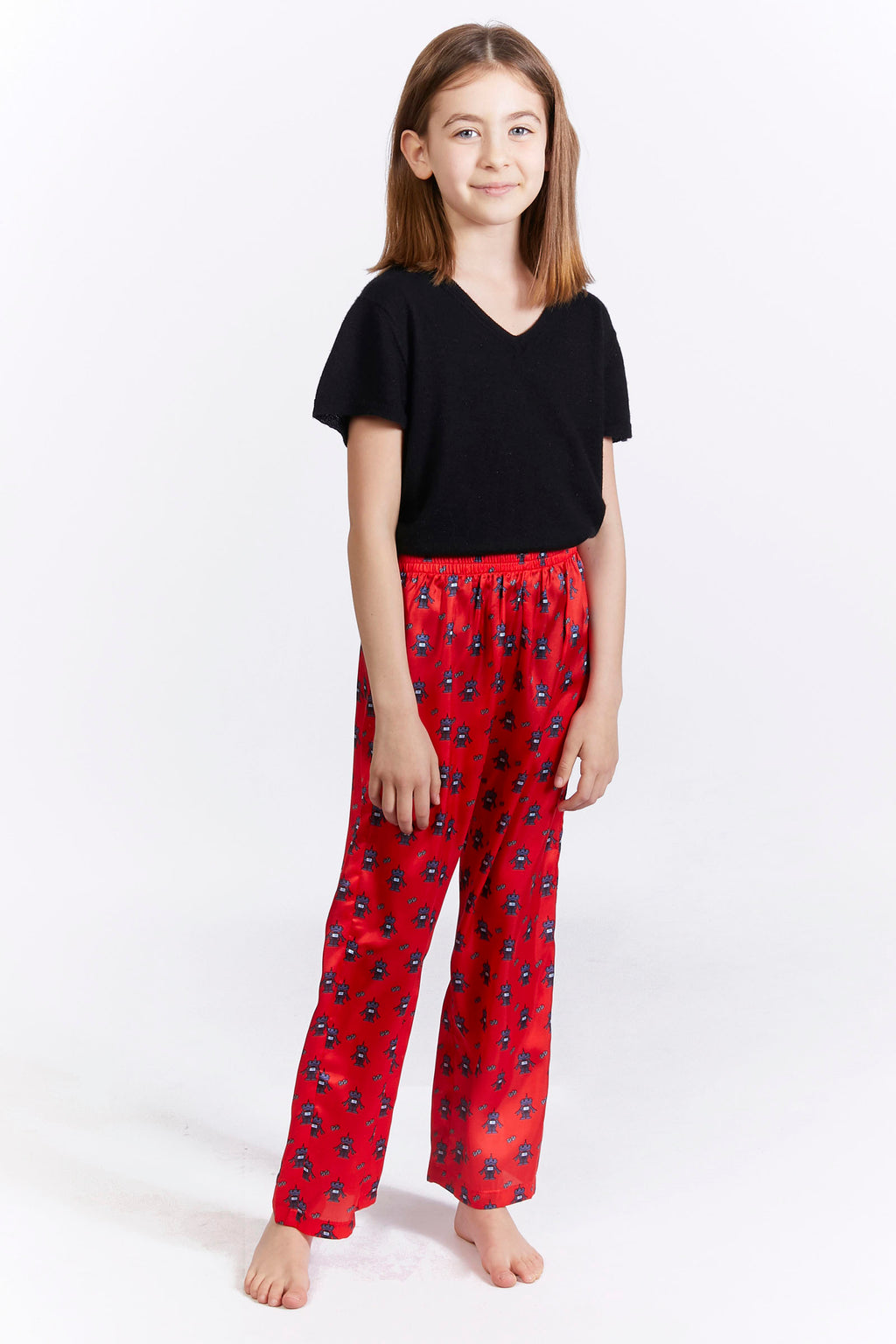 Kids Red Robot Print Trousers