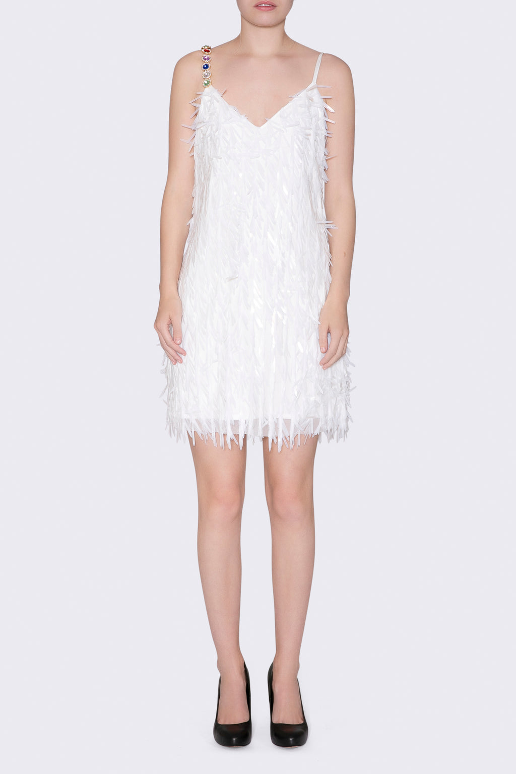Feather Sequin Tank Dress
