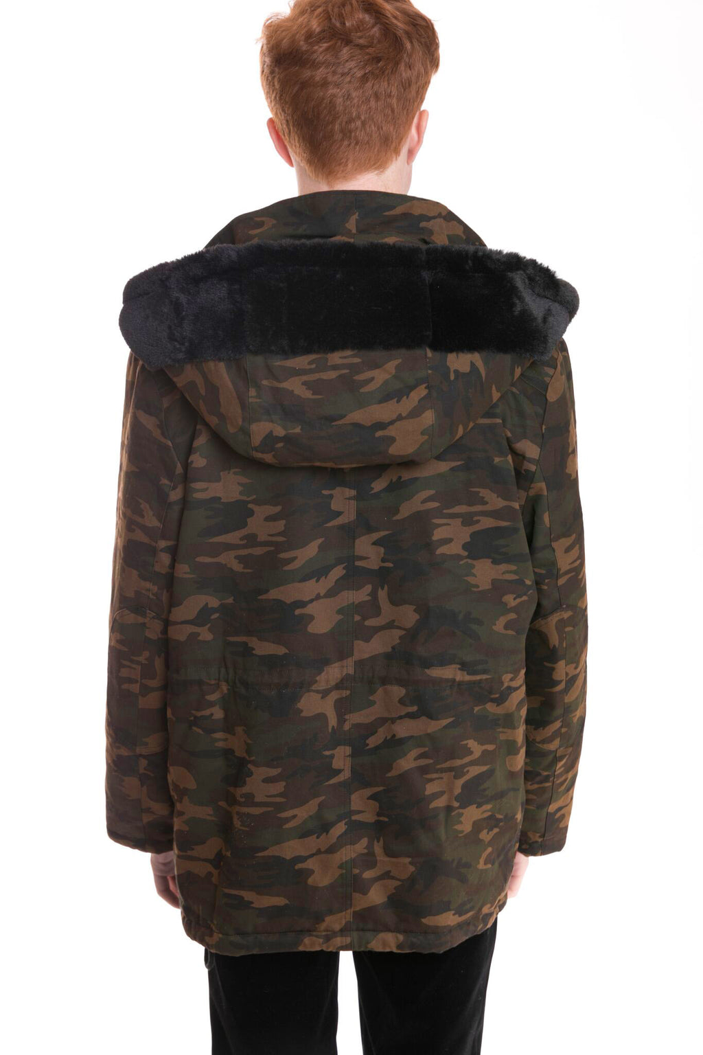 Unisex Camouflage Jacket with Faux Fur Trim
