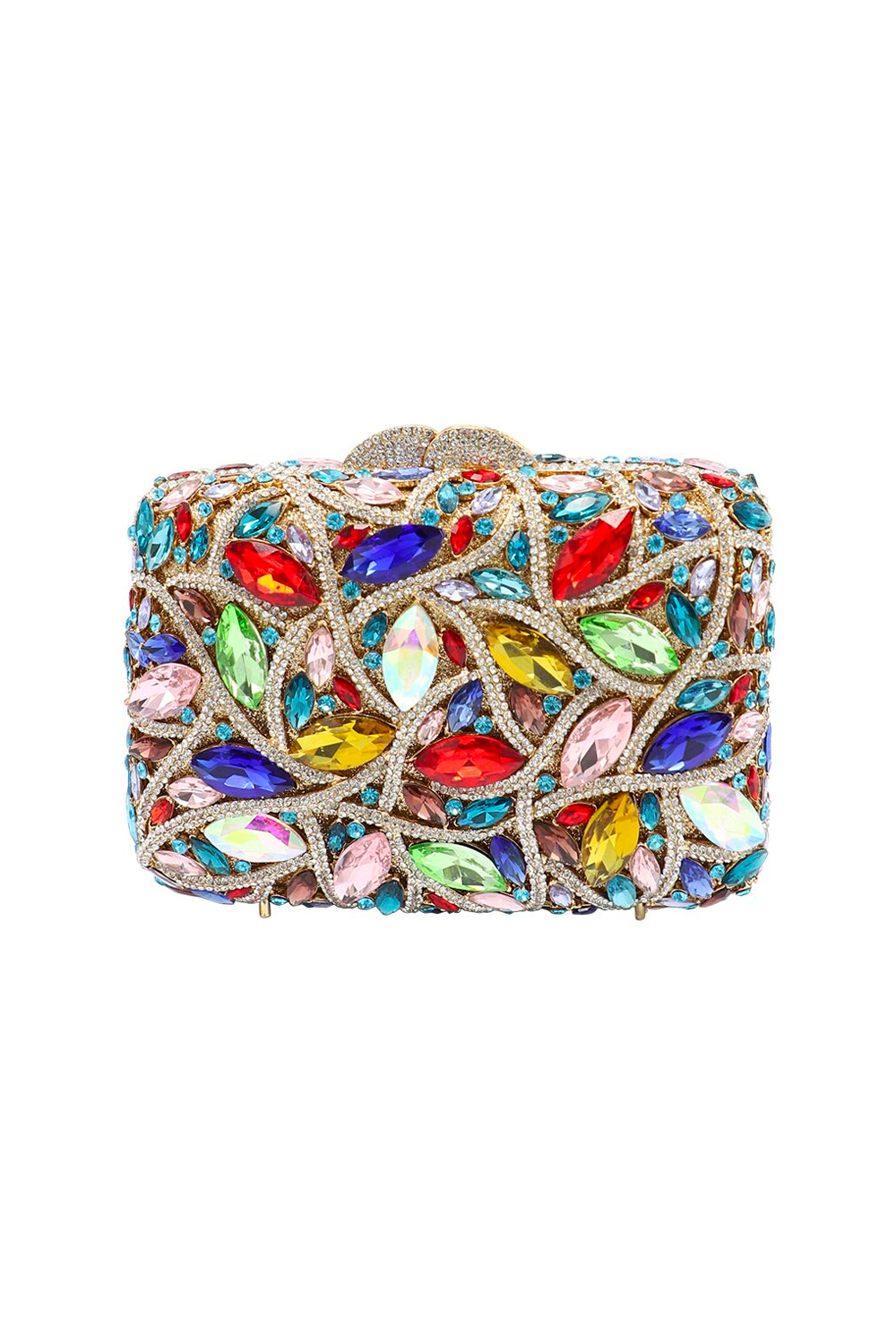 Rainbow Embellished Diamante Clutch