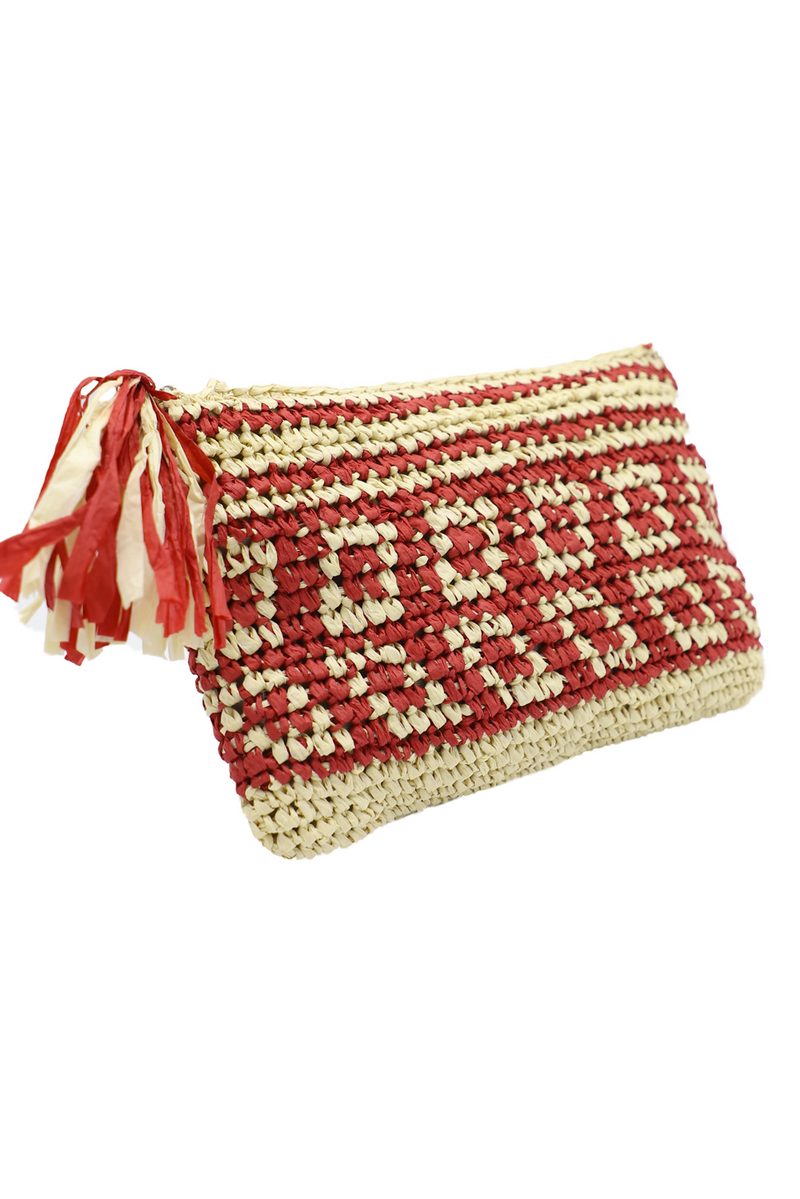 Patterned Woven Clutch Bag