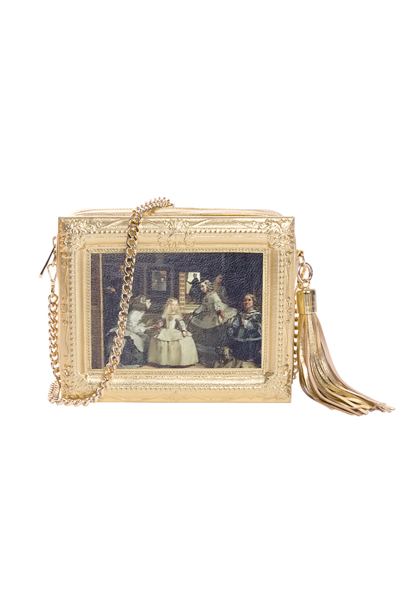Las Meninas Framed Gold Leather Bag