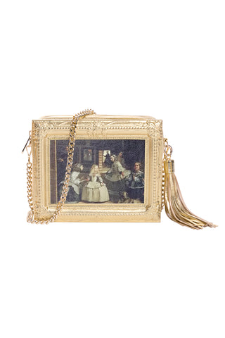 Starry Night Framed Gold Leather Bag