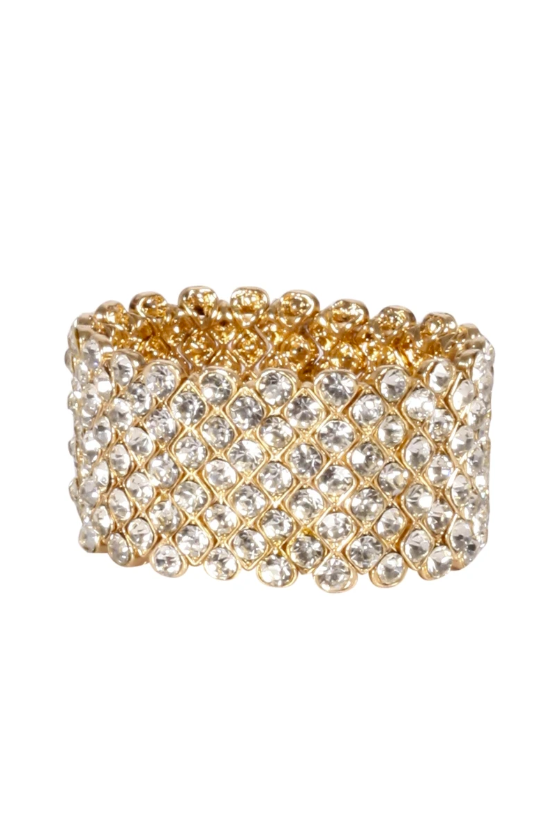 Chunky Gold Bejewelled Cuff Bracelet