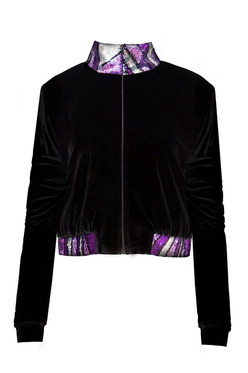 Ilona Rich Black Velvet Purple Sequin Detail Crop Jacket