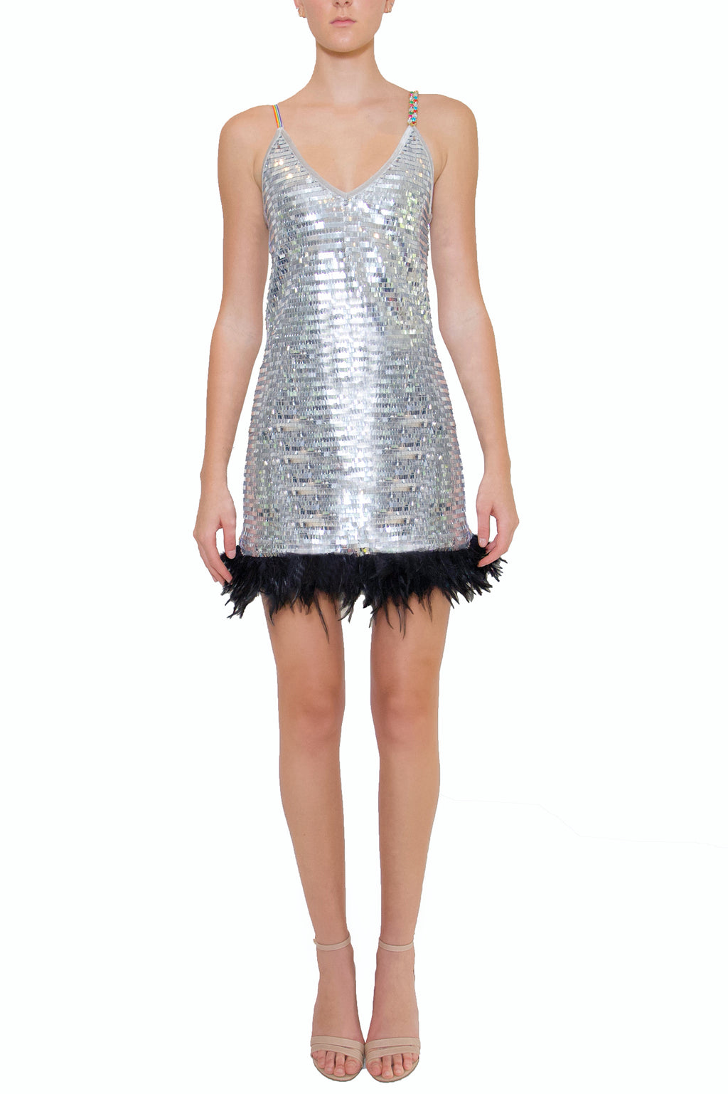 Black Feather Sequin Party Dress