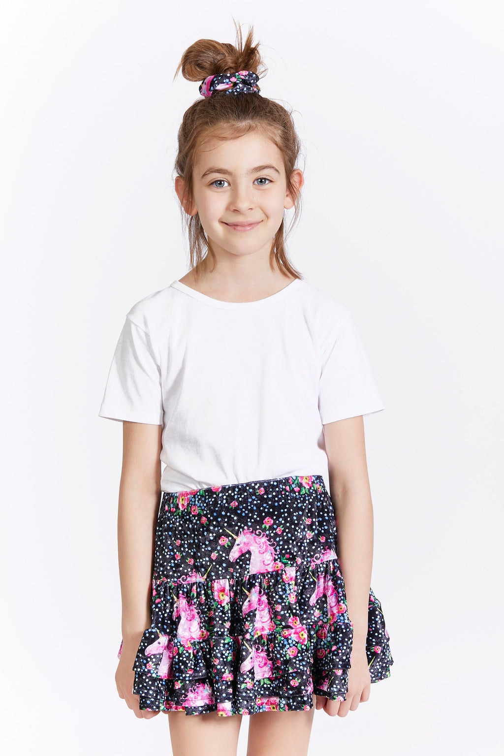 Kids Unicorn Velvet Skirt