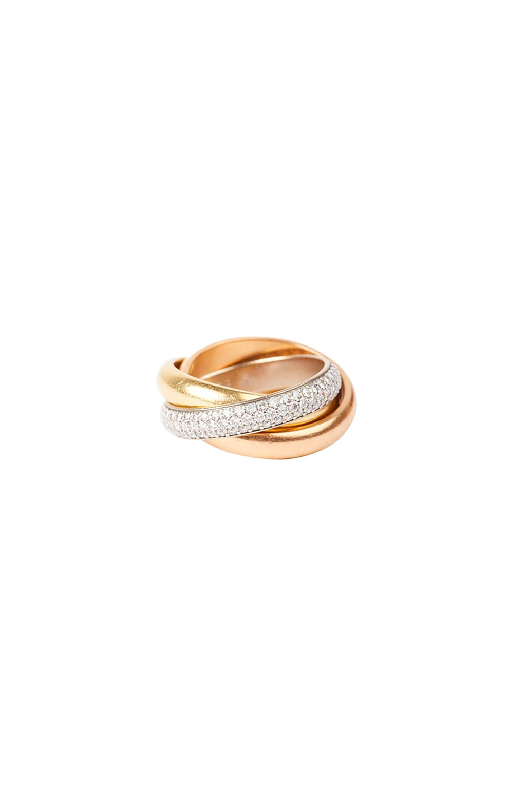 Gold and Diamond Three Strand Ring