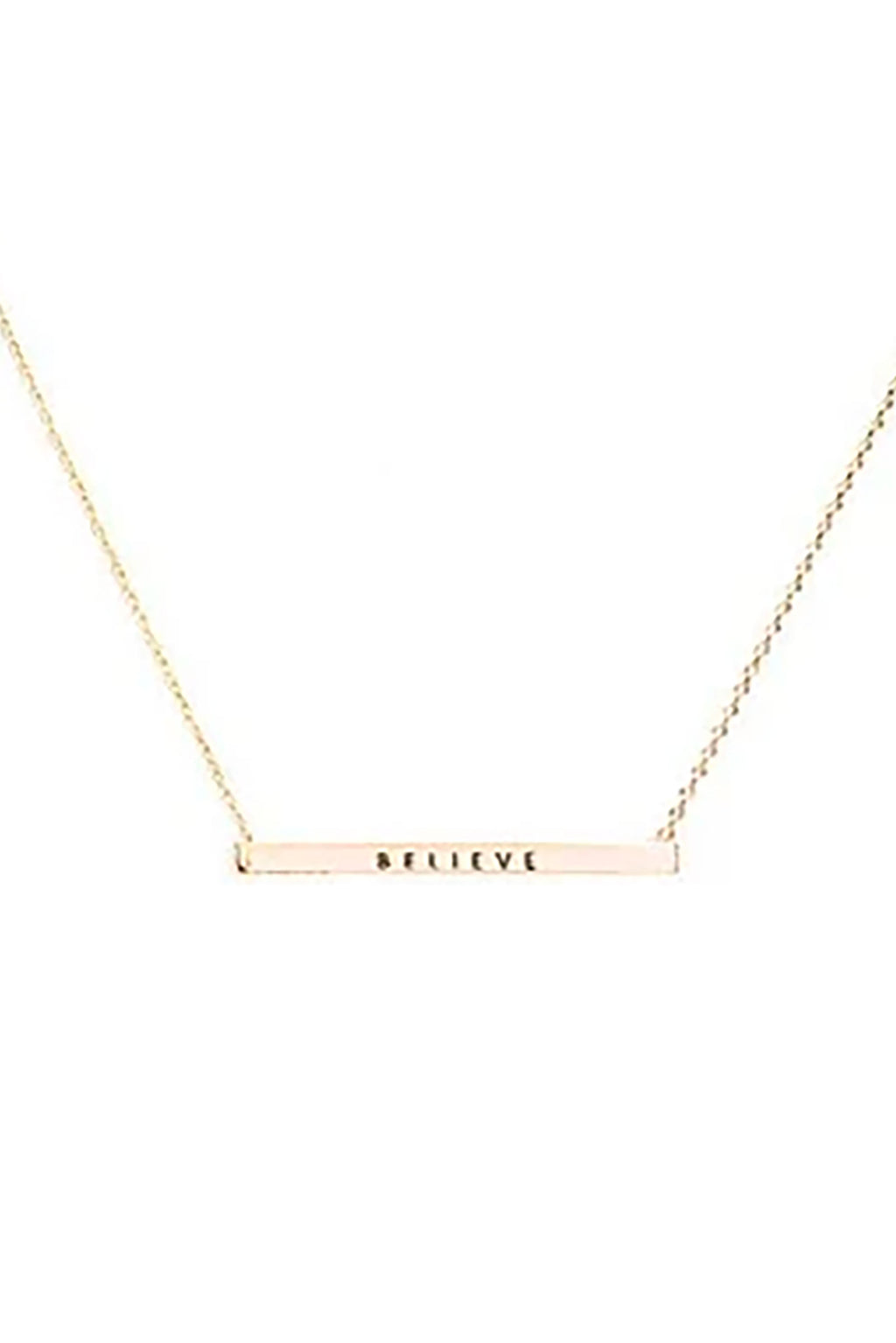 """Believe"" Horizontal Metal Bar Necklace"