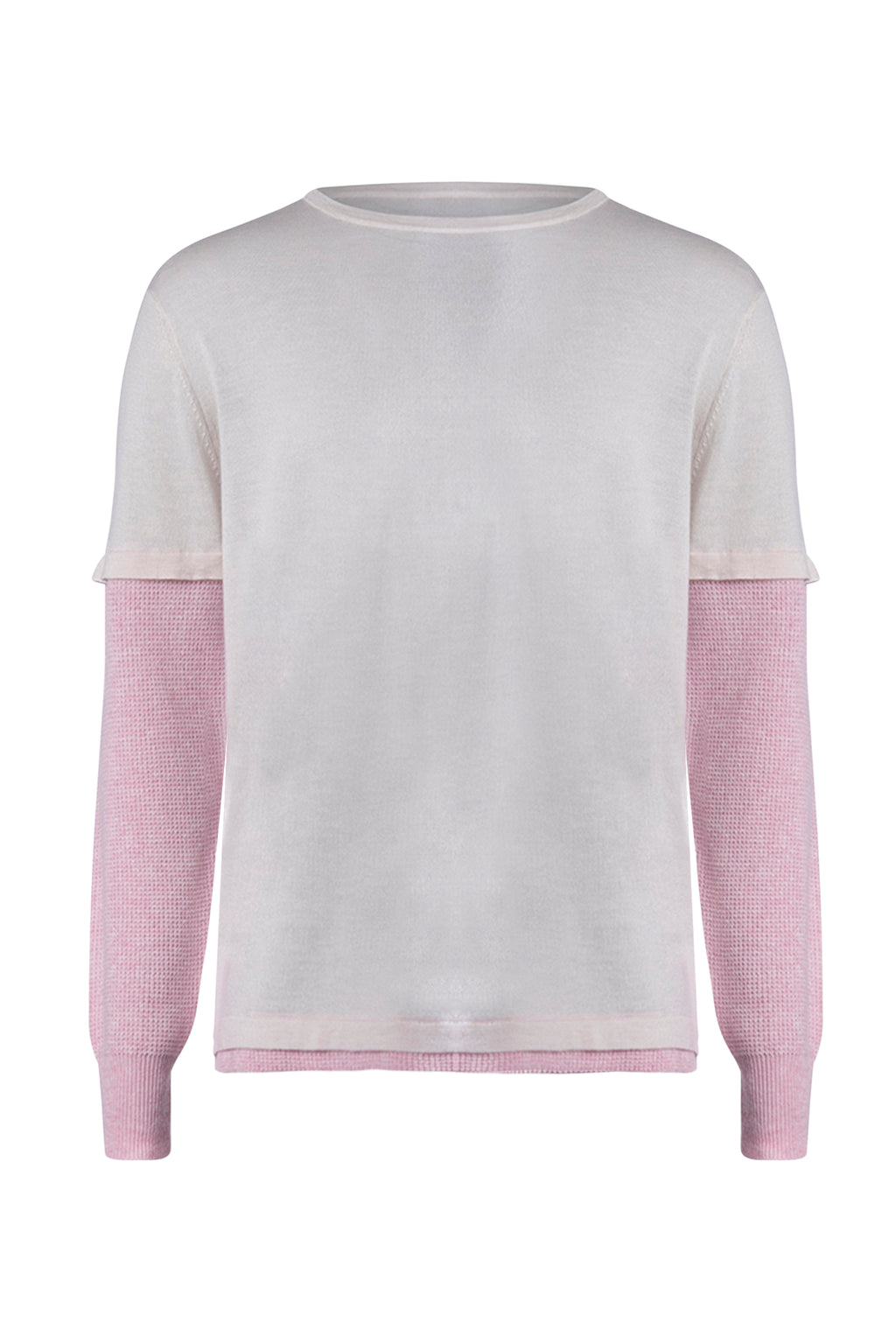 ISM Cashmere Waffle Long Sleeve Light Pink/Dark Pink
